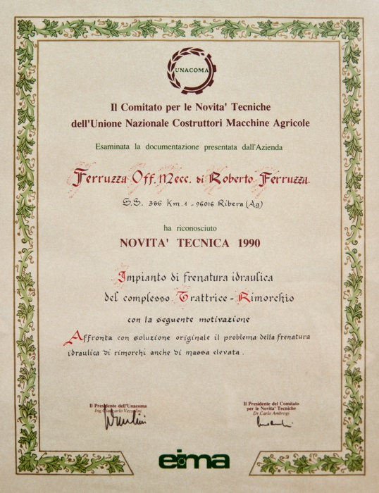 Premio Novità Tecniche EIMA International 1990