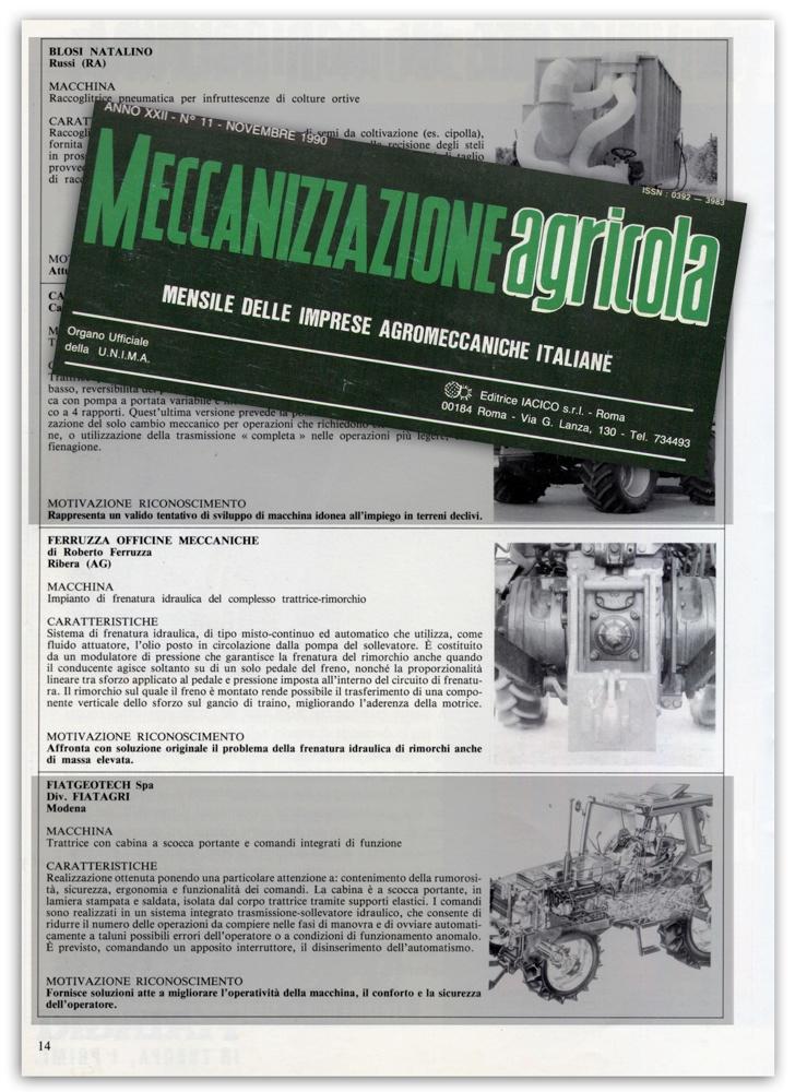 Meccanizzazione agricola - Novembre 1990
