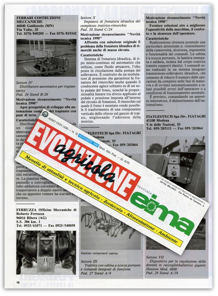 Evoluzione agricola - Novembre 1990
